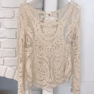 Tops - Cream Lace Shirt